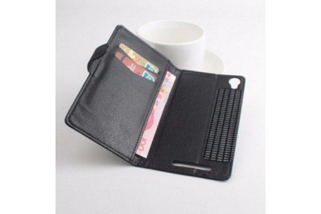 Фирменный чехол-книжка из качественной импортной кожи с мульти-подставкой застёжкой и визитницей для ТХЛ Т12 черный