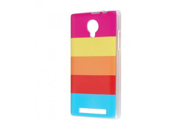 """Фирменная ультра-тонкая полимерная из мягкого качественного силикона задняя панель-чехол-накладка для ThL T6c  тематика """"все цвета радуги"""""""