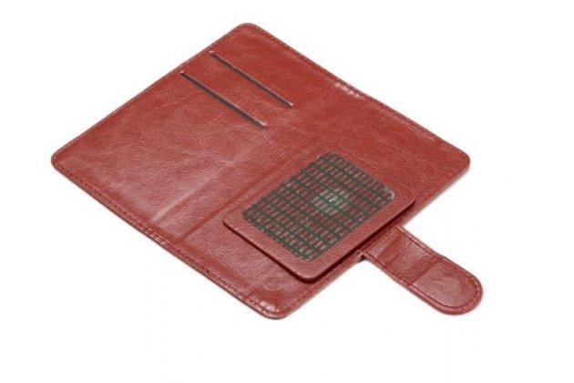 """Фирменный чехол-книжка из качественной импортной кожи с подставкой застёжкой и визитницей для ThL T9 Pro 5.5""""  коричневый"""
