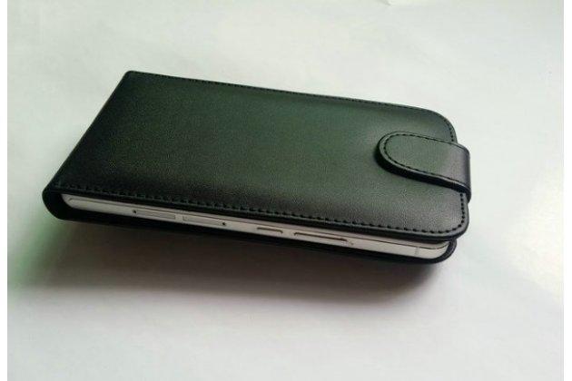"""Фирменный оригинальный вертикальный откидной чехол-флип для ThL T9 Pro 5.5"""" черный кожаный"""