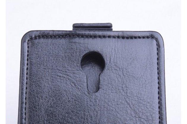 """Фирменный оригинальный вертикальный откидной чехол-флип для ThL 4000 черный кожаный """"Prestige"""" Италия"""