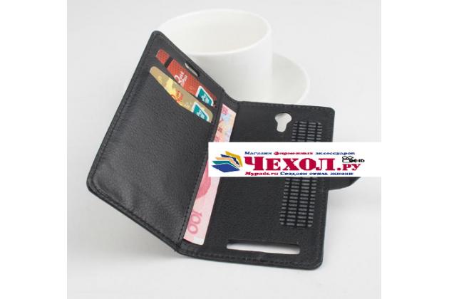Фирменный чехол-книжка для ThL 4000 с визитницей и мультиподставкой черный кожаный