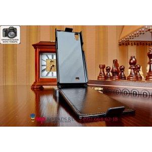 Фирменный оригинальный вертикальный откидной чехол-флип для THL T100/T100S черный кожаный