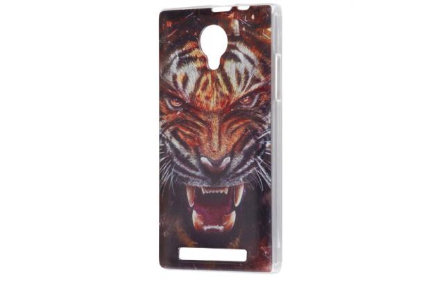 """Фирменная роскошная задняя панель-чехол-накладка с безумно красивым рисунком тигра на ThL T6s"""""""