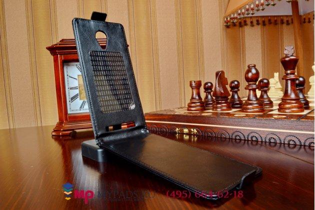 """Фирменный оригинальный вертикальный откидной чехол-флип для ThL T6s черный кожаный """"Prestige"""" Италия"""