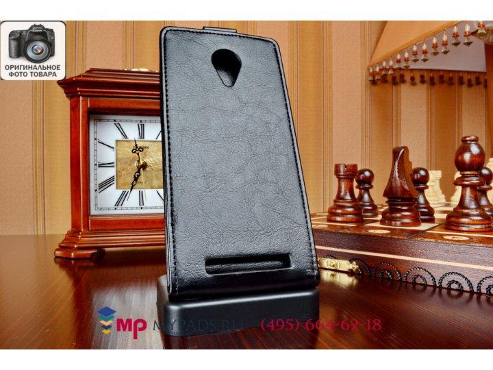 Фирменный оригинальный вертикальный откидной чехол-флип для ThL T6s черный кожаный