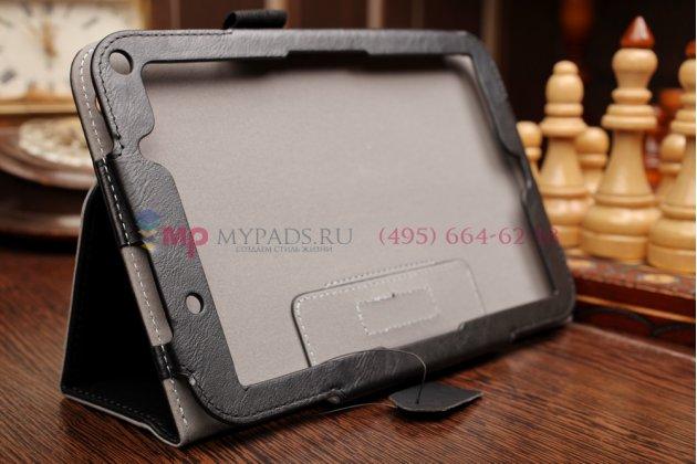 """Фирменный оригинальный чехол-книжка для Toshiba Encore 2 WT8-B264 с визитницей и держателем для руки черный натуральная кожа """"Prestige"""" Италия"""