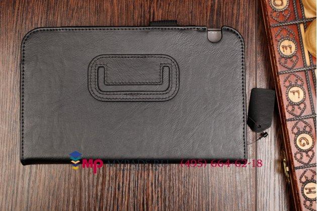 """Фирменный оригинальный чехол-книжка для Toshiba Excite AT7-A8 с визитницей и держателем для руки черный натуральная кожа """"Prestige"""" Италия"""