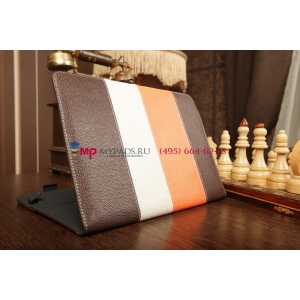 Чехол-обложка для Treelogic Brevis 1003QC IPS коричневый с оранжевой полосой кожаный