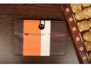 Чехол-обложка для TurboGames TurboPad 702 коричневый с оранжевой полосой кожаный..