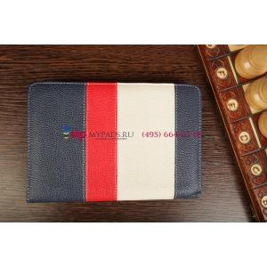 Чехол-обложка для TurboGames TurboPad 702 синий с красной полосой кожаный