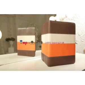 Чехол-обложка для TurboGames Turbopad 1000 коричневый с оранжевой полосой кожаный