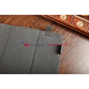 Чехол-обложка для TurboGames Turbopad 1010 синий с красной полосой кожаный