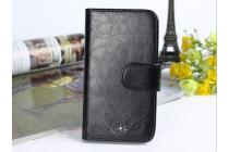 """Фирменный чехол-книжка для  Ulefone Be X""""  с визитницей и мультиподставкой черный кожаный"""