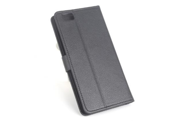 """Фирменный чехол-книжка для Ulefone Future 5.5"""" с визитницей и мультиподставкой черный кожаный"""