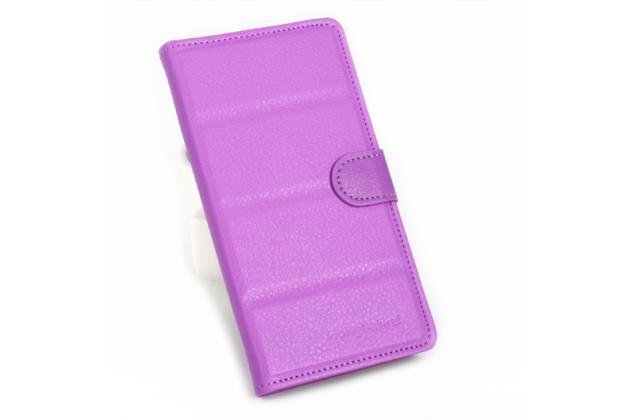 """Фирменный чехол-книжка для  Ulefone Future 5.5"""" с визитницей и мультиподставкой фиолетовый кожаный"""