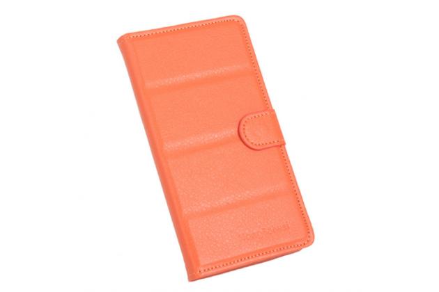 """Фирменный чехол-книжка из качественной импортной кожи с подставкой застёжкой и визитницей для Ulefone Future 5.5"""" оранжевый"""