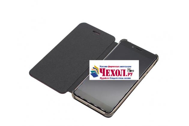 """Фирменный чехол-книжка из качественной водоотталкивающей импортной кожи на жёсткой металлической основе для Ulefone Future 5.5"""" черный"""