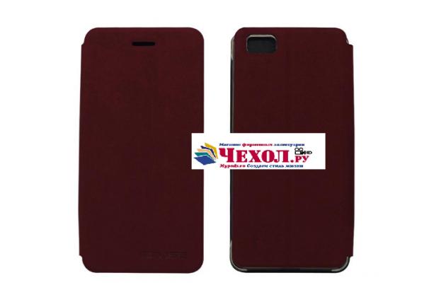 """Фирменный чехол-книжка из качественной водоотталкивающей импортной кожи на жёсткой металлической основе для Ulefone Future 5.5"""" нежный темно-красный"""
