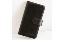"""Фирменный чехол-книжка из качественной импортной кожи с подставкой застёжкой и визитницей для Улефон Метал 5.0""""  черный"""