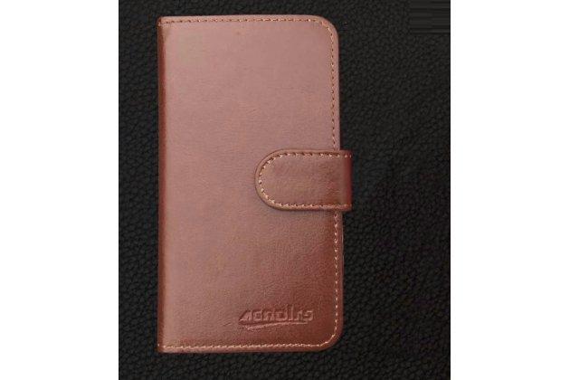 """Фирменный чехол-книжка из качественной импортной кожи с подставкой застёжкой и визитницей для Ulefone Metal 5.0"""" коричневый"""