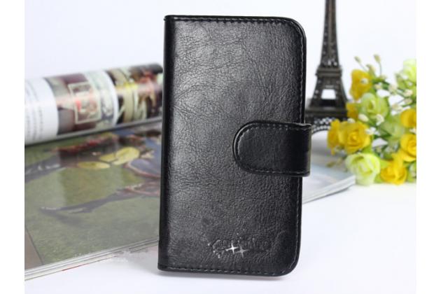 """Фирменный чехол-книжка для  Ulefone Paris""""  с визитницей и мультиподставкой черный кожаный"""