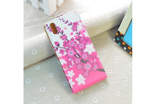 """Фирменный вертикальный откидной чехол-флип для Ulefone Paris""""   """"тематика Цветок Вишни"""""""