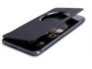 Фирменный оригинальный чехол-книжка для Ulefone Paris  черный с окошком для входящих вызовов водоотталкивающий..