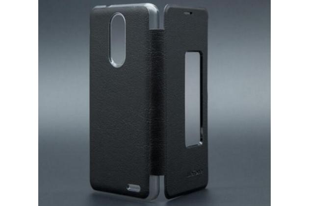 Фирменный оригинальный чехол-книжка для Ulefone Tiger черный с окошком для входящих вызовов водоотталкивающий
