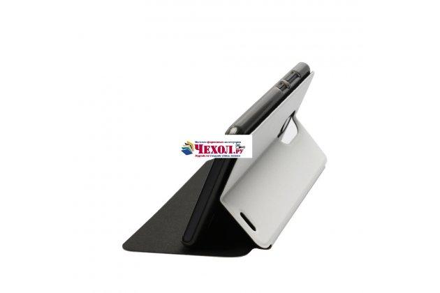 Фирменный чехол-книжка из качественной водоотталкивающей импортной кожи на жёсткой металлической основе для Ulefone Tiger белый