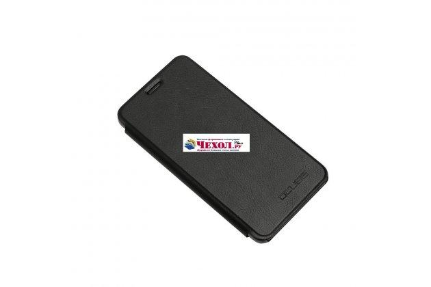 Фирменный чехол-книжка из качественной водоотталкивающей импортной кожи на жёсткой металлической основе для Ulefone Tiger черный