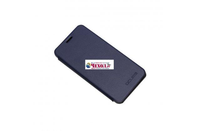 Фирменный чехол-книжка из качественной водоотталкивающей импортной кожи на жёсткой металлической основе для Ulefone Tiger синий