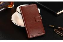 Фирменный чехол-книжка из качественной импортной кожи с подставкой застёжкой и визитницей для Umidigi Z1 / Umidigi Z1 Pro коричневый