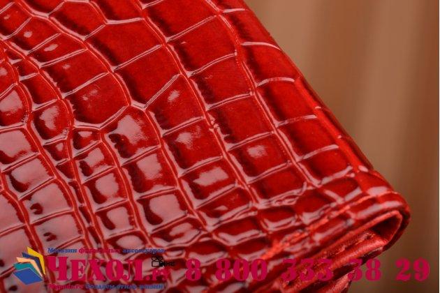 Фирменный роскошный эксклюзивный чехол-клатч/портмоне/сумочка/кошелек из лаковой кожи крокодила для телефона VERTEX Impress Open. Только в нашем магазине. Количество ограничено