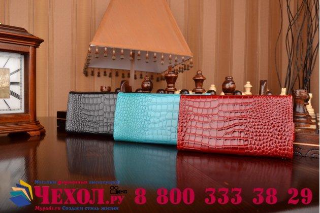 Фирменный роскошный эксклюзивный чехол-клатч/портмоне/сумочка/кошелек из лаковой кожи крокодила для телефона VERTEX Impress XХL. Только в нашем магазине. Количество ограничено