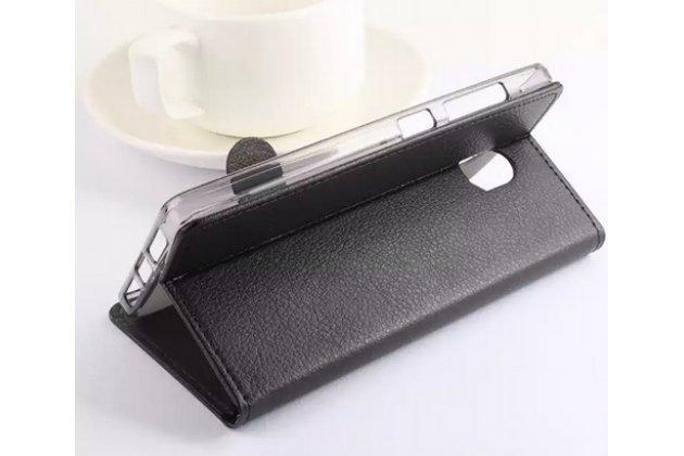Фирменный чехол-книжка из качественной импортной кожи с мульти-подставкой застёжкой и визитницей для Вивсоник Вэ 500 черный с окошком для входящих вызовов