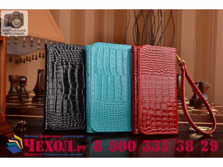 Фирменный роскошный эксклюзивный чехол-клатч/портмоне/сумочка/кошелек из лаковой кожи крокодила для телефона V..