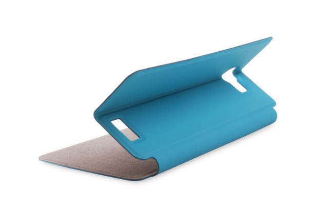 """Фирменный чехол-книжка водоотталкивающий с мульти-подставкой на жёсткой металлической основе для Vkworld T5 / T5 SE 5.0"""" голубой"""