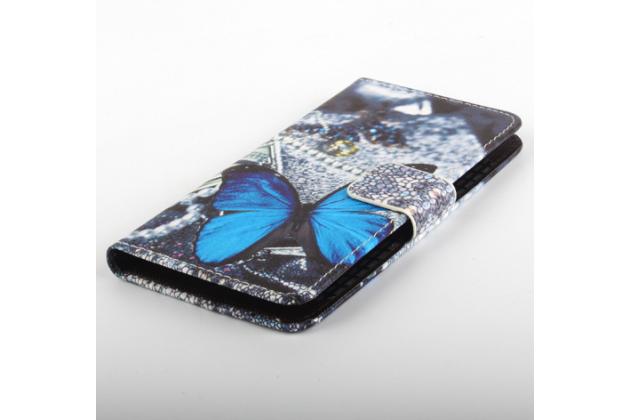 """Фирменный уникальный необычный чехол-книжка для Vkworld VK6050S"""" """"тематика радужные Бабочки"""""""
