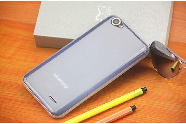 Фирменная ультра-тонкая полимерная из мягкого качественного силикона задняя панель-чехол-накладка для  Vkworld VK700 белая