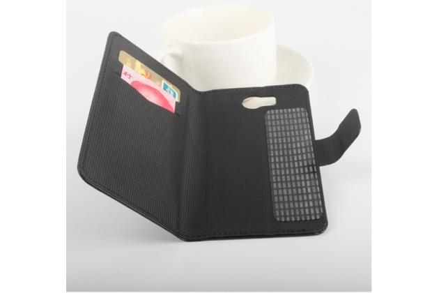 """Фирменный чехол-книжка для  Vkworld VK800X""""  с визитницей и мультиподставкой черный кожаный"""