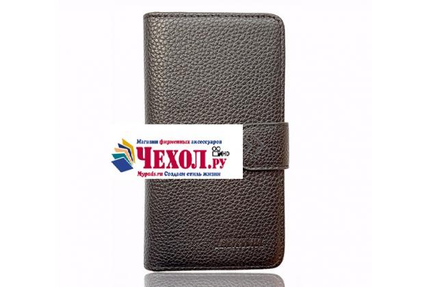 """Фирменный чехол-книжка для Wexler.ZEN 5.5s LTE""""  с визитницей и мультиподставкой черный кожаный"""