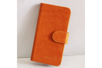 """Фирменный чехол-книжка для  WEXLER .ZEN 4.5"""" с визитницей и мультиподставкой коричневый кожаный"""