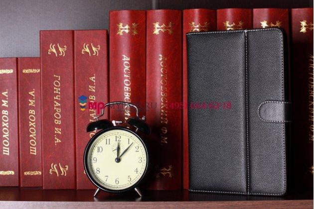 Чехол-обложка для Wexler Book T7008 черный кожаный