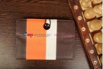 Чехол-обложка для Wexler TAB 7b 8Gb\16Gb\8Gb 3G\16Gb 3G коричневый с оранжевой полосой кожаный