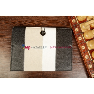 Чехол-обложка для Wexler TAB 10iS 8Gb\16Gb\32Gb\8Gb 3G\16Gb 3G\32Gb 3G черный с серой полосой кожаный