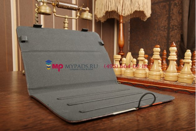 Чехол-обложка для Wexler TAB 10iS 8Gb\16Gb\32Gb\8Gb 3G\16Gb 3G\32Gb 3G коричневый с оранжевой полосой кожаный
