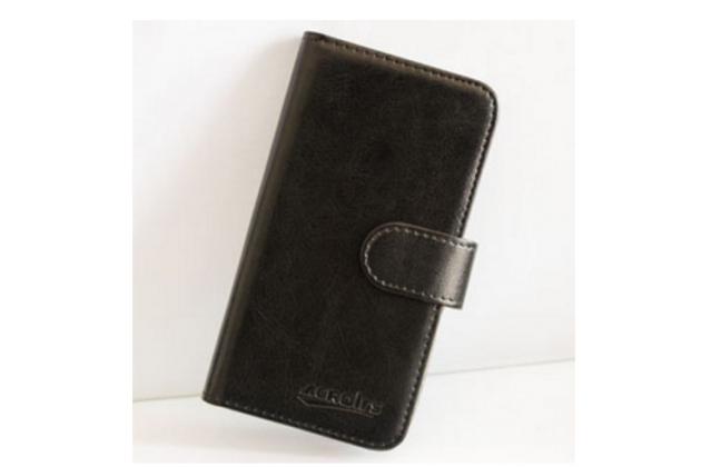 Фирменный чехол-книжка из качественной импортной кожи с мульти-подставкой застёжкой и визитницей для Флай Вайлфокс Сторм черный
