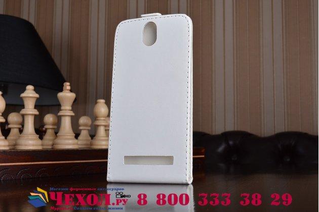Фирменный оригинальный вертикальный откидной чехол-флип для Wileyfox Storm белый из натуральной кожи Prestige Италия