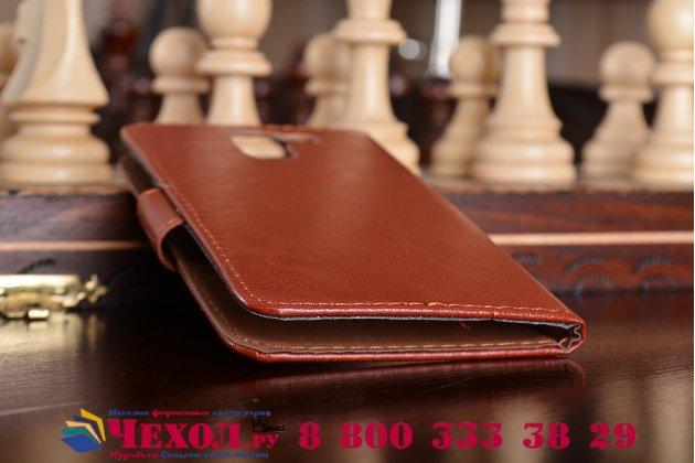 Фирменный чехол-книжка  из качественной импортной кожи с застёжкой и мультиподставкой для Wileyfox Swift 2 / Вайлефокс Свифт 2 коричневый